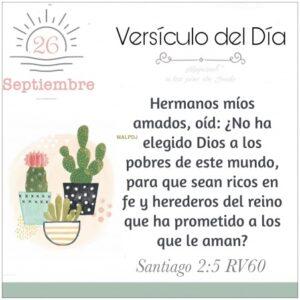 Imagen – Versículo del Día ~ Santiago 2:5 RV60